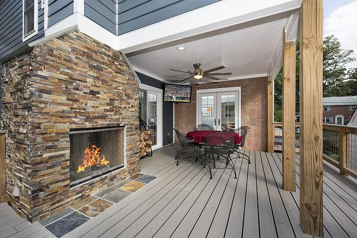 porch and deck designs with fireplace and tv