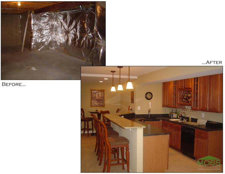before and after renovated basement