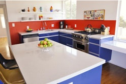 kitchen remodel with red white and blue
