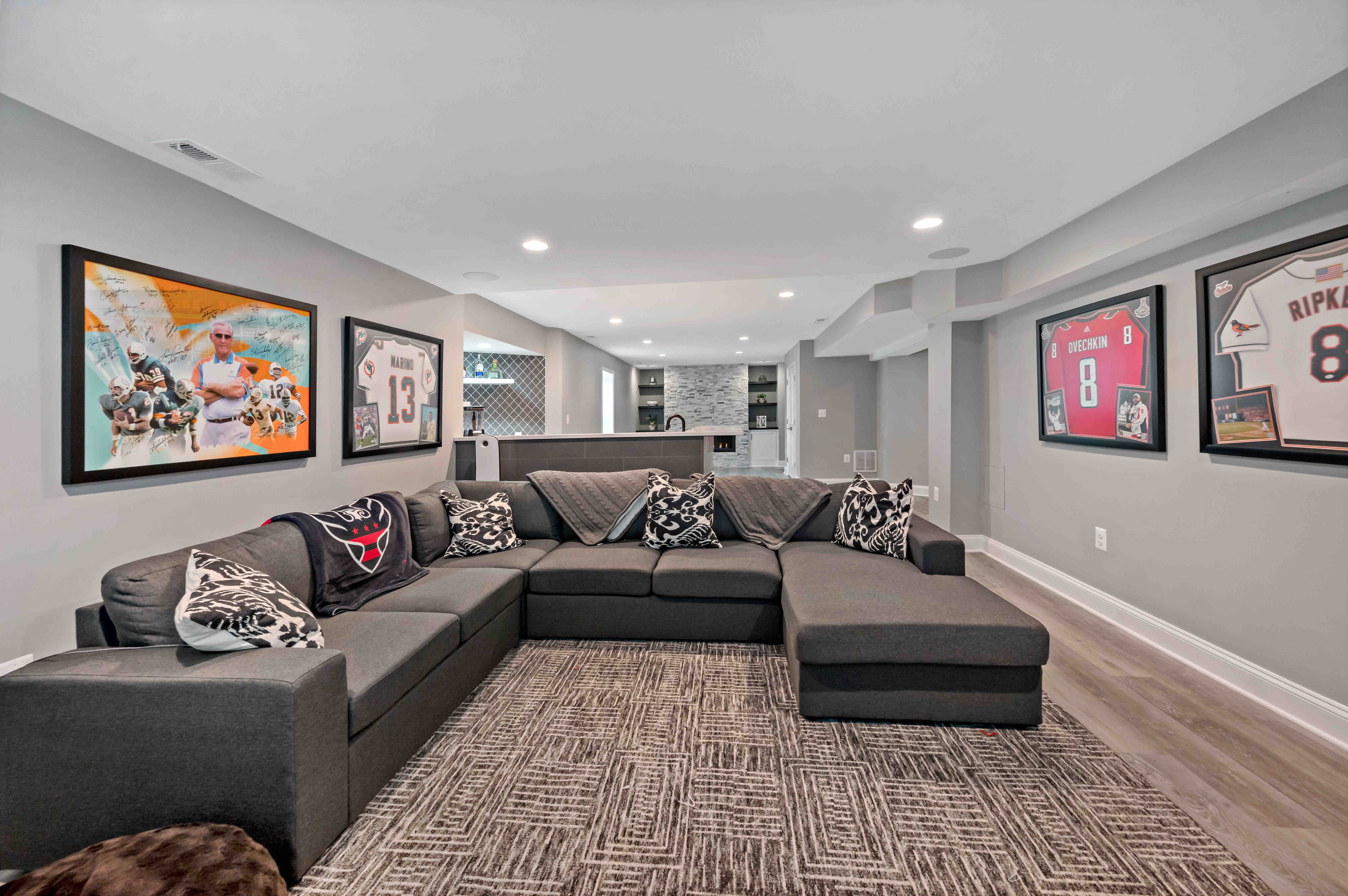 Unfinished Ashburn Basement Becomes Dream Space for Family Fun