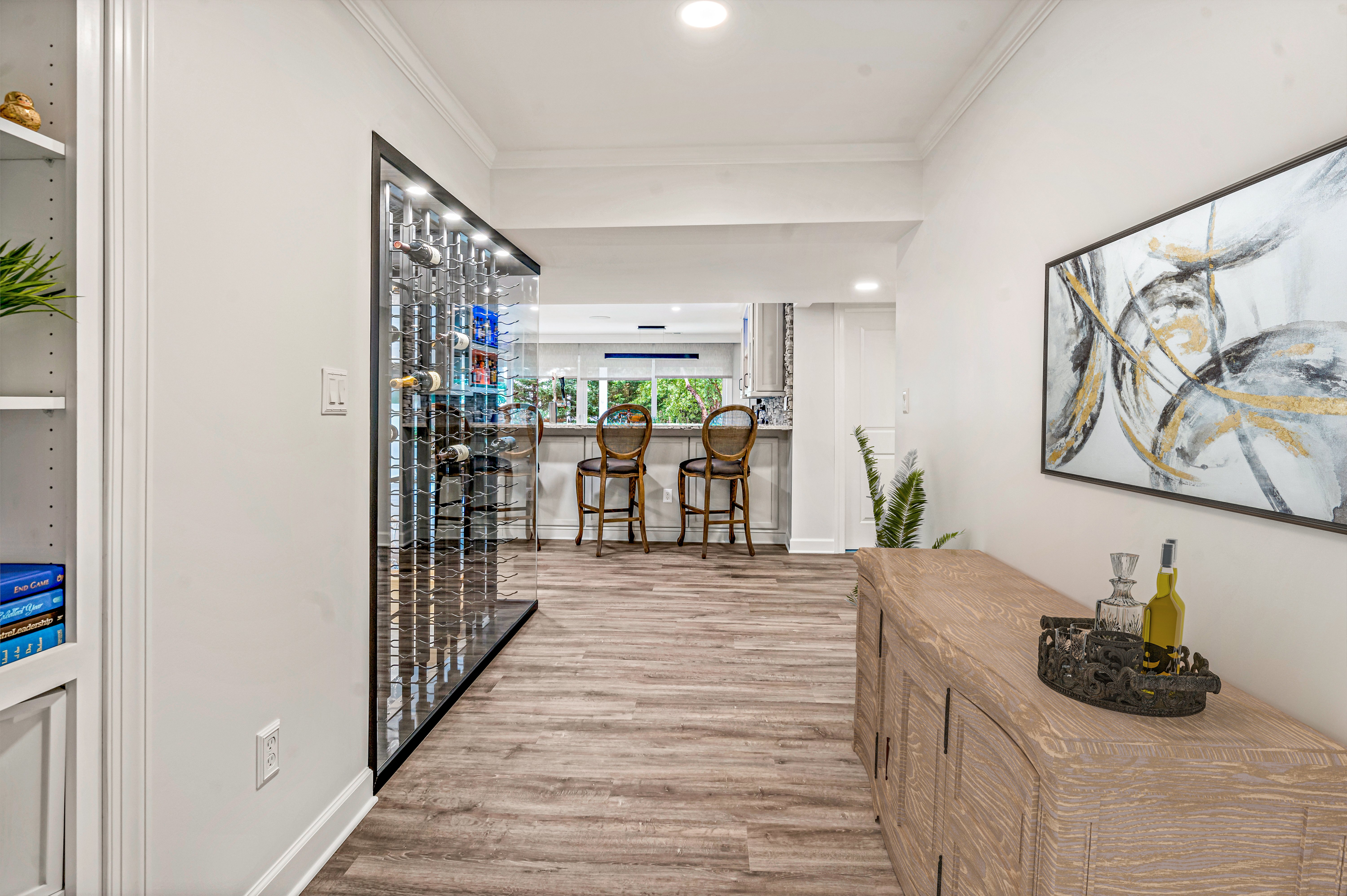 Incredible Northern Virginia Basement Remodel Features Wine Cellar and Media Room